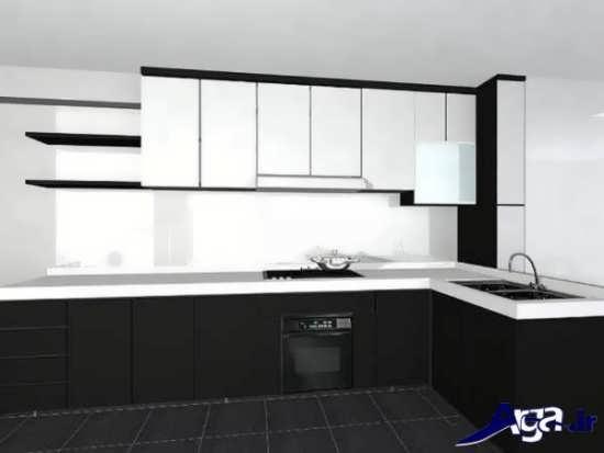 مدل کابینت سیاه و سفید آشپزخانه