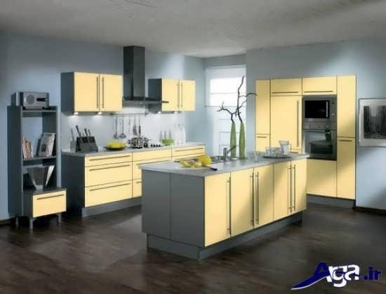 مدل کابینت زرد و طوسی آشپزخانه