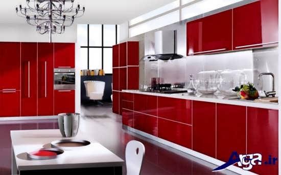 مدل کابینت هایگلاس با رنگ قرمز