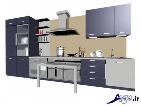 مدل کابینت طوسی و بنفش آشپزخانه