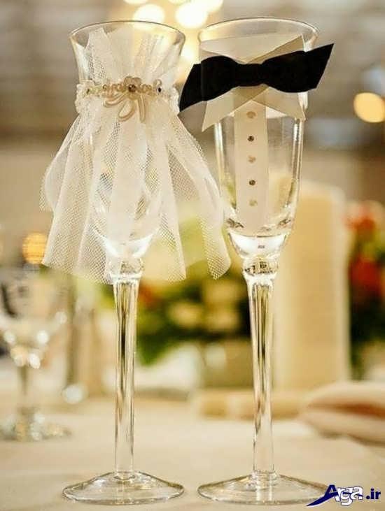 تزیین جام عسل به شکل عروس و داماد