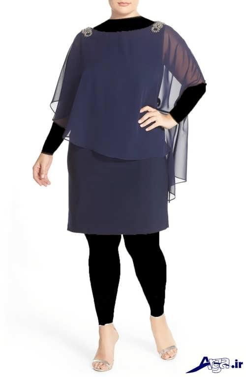 مدل لباس برای افراد شکم دار با رنگ خاکستری تیره