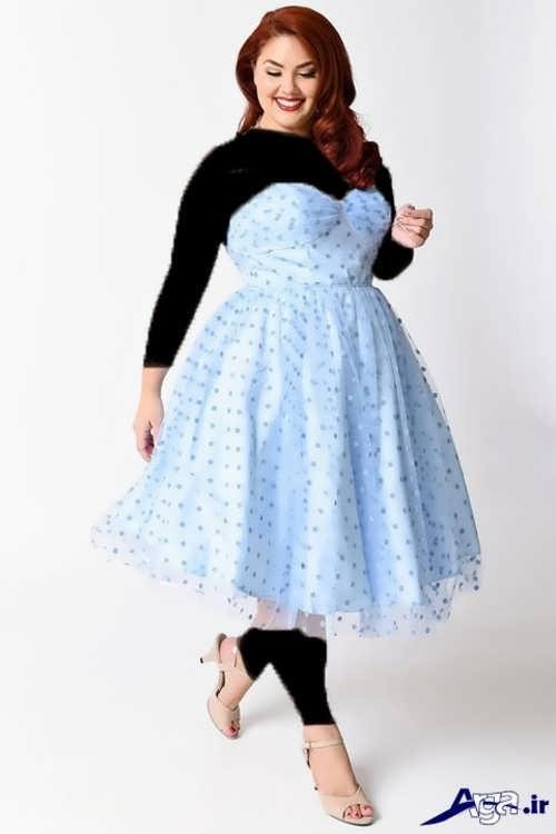 مدل لباس مجلسی آبی طرح دار