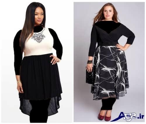 مدل لباس مجلسی با رنگ تیره برای خانم های چاق