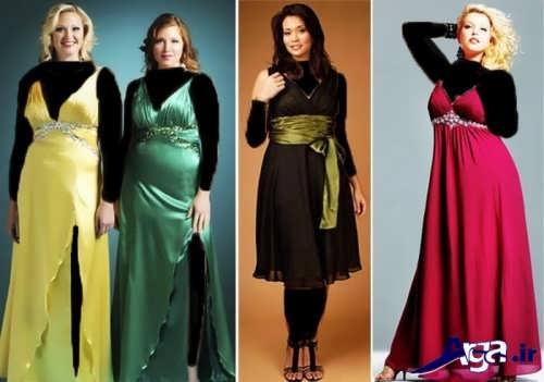 انواع مدل های لباس مجلسی برای خانم های شکم دار