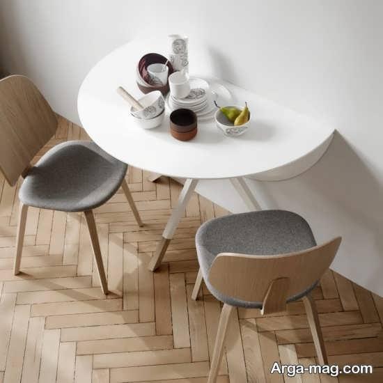 مدل نیم دایره میز ناهارخوری تاشو دیواری