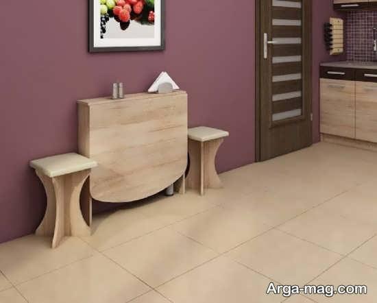 مدل چوبی میز ناهارخوری تاشو دیواری