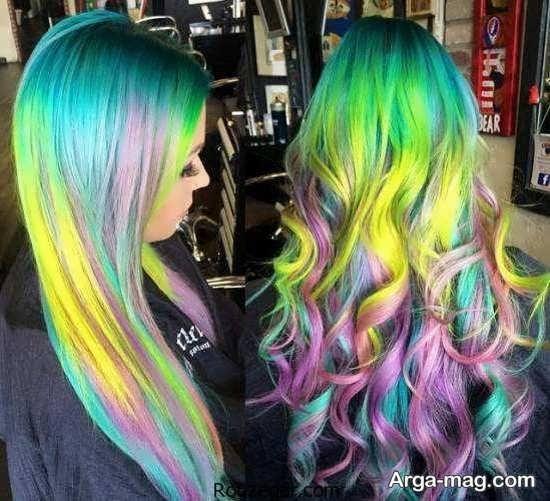 رنگ مو سبز با هایلایت جذاب