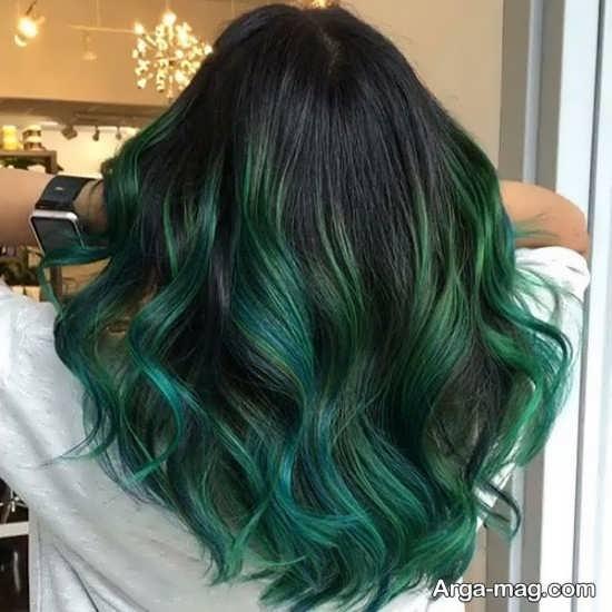 رنگ موی سبز با هایلایت