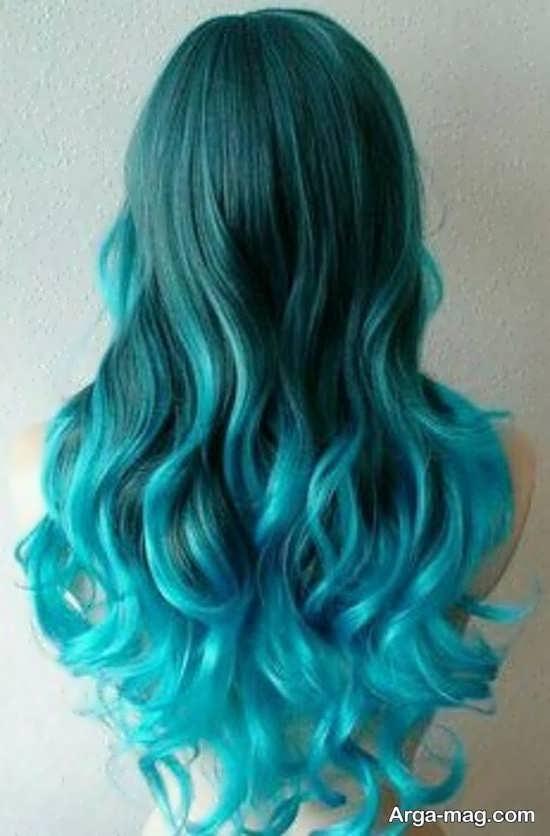 رنگ موی سبز آبی زیبا