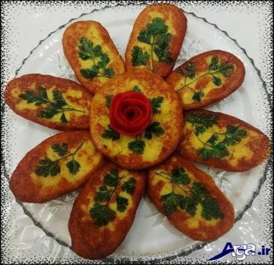 تزیین کوکوی سیب زمینی با سبزیجات