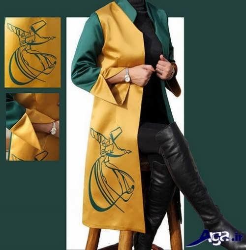 مدل مانتو زرد طرح دار