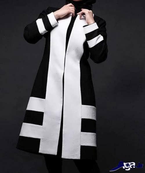 مدل مانتو سفید و مشکی