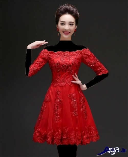 لباس مجلسی قرمز با یقه قایقی