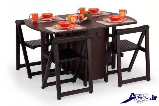 میز ناهار خوری تاشو چوبی با طرح شیک و زیبا