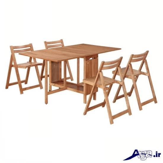 میز ناهار خوری چوبی با طرح شیک و جدید