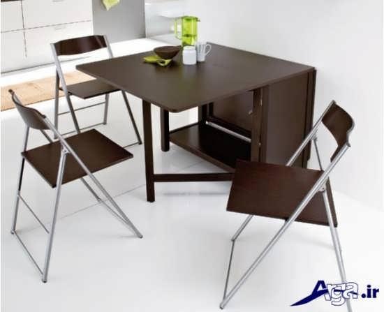 میز غذا خوری چوبی با طرح شیک و جدید
