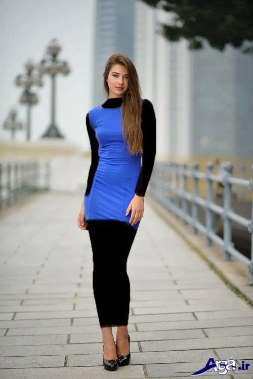 مدل لباس مجلسی آبی دخترانه