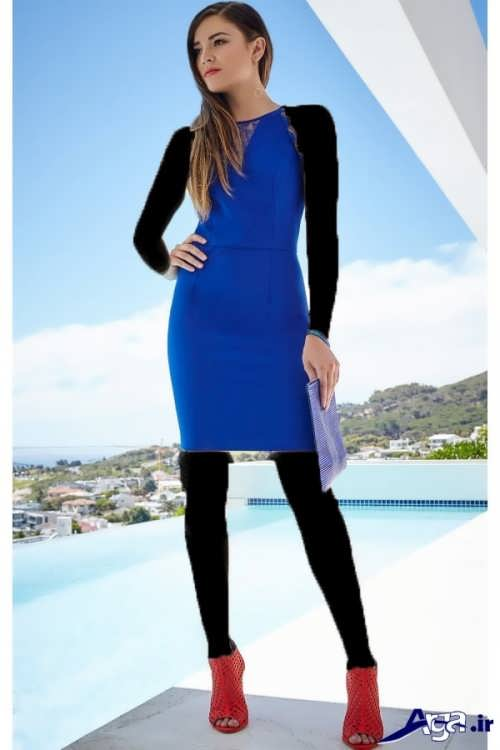 مدل پیراهن آبی دخترانه