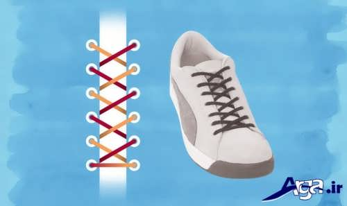 مدل بستن بند کفش به صورت ضربدری