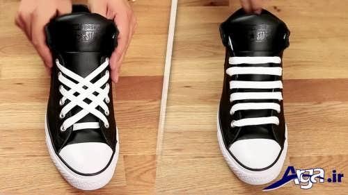 مدل ساده و متفاوت بستن بند کفش