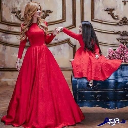 مدل پیراهن قرمز ست مادر و دختر
