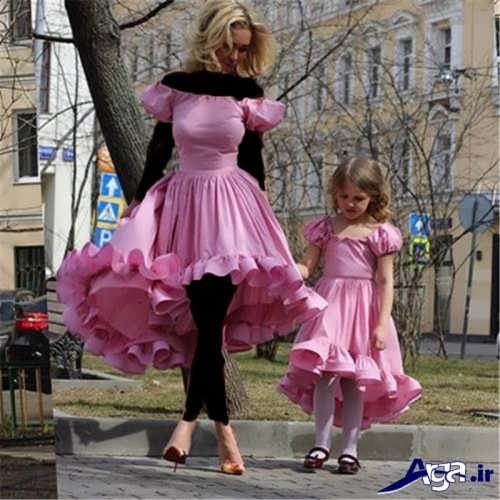 لباس مجلسی صورتی ست مادر و دختر