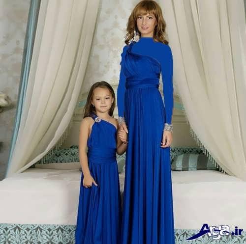 مدل پیراهن آبی مادر و دختر
