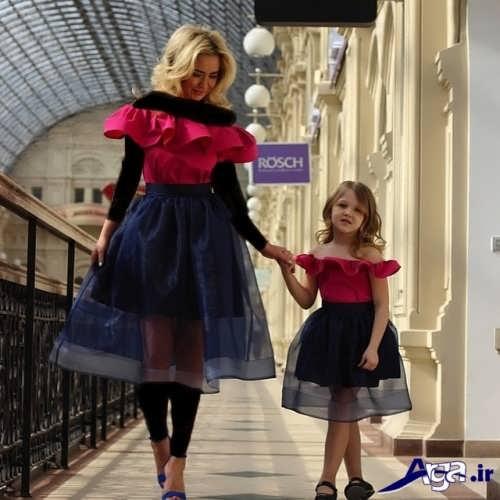 مدل لباس مشکی و قرمز مادر و دختر