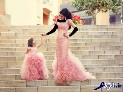 مدل لباس مجلسی ست مادر و دختر