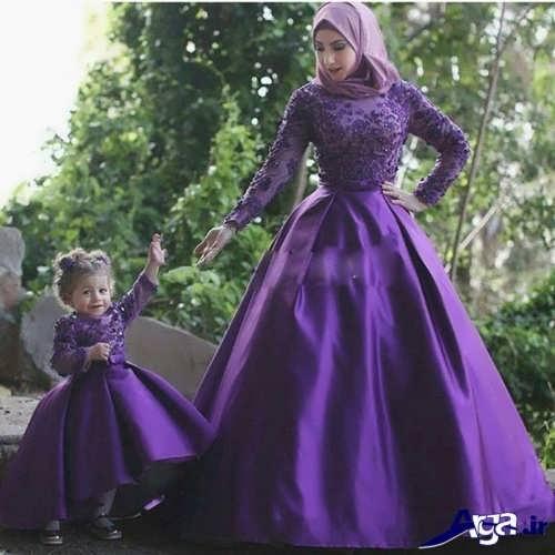 مدل لباس پرنسسی ست مادر و دختر