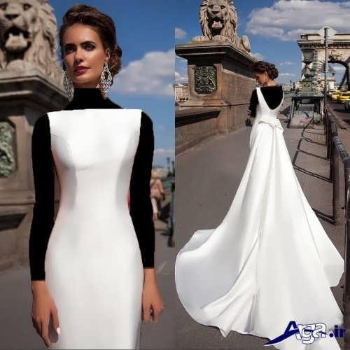 مدل لباس عروس ساده دنباله دار