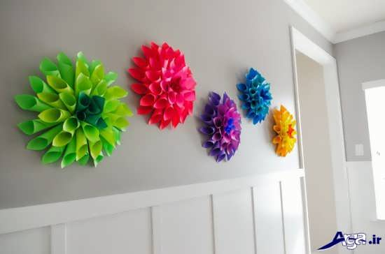 تزیین دیوار با کاغذ کشی و کاغذ رنگی و ایده های متفاوت