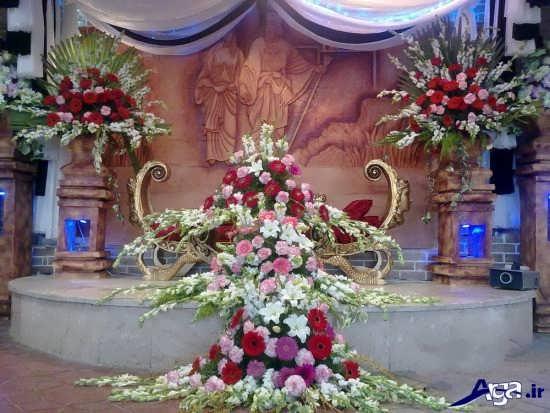 تزیین زیبای جایگاه عروس با گل