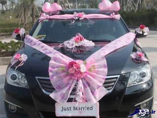 تزیین ماشین عروس با پاپیون های توری