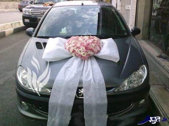 تزیین شیک ماشین عروس با پاپیون