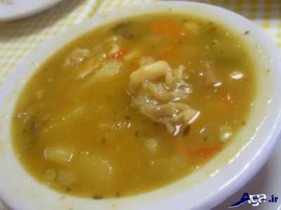 دستور طبخ سوپ پای مرغ