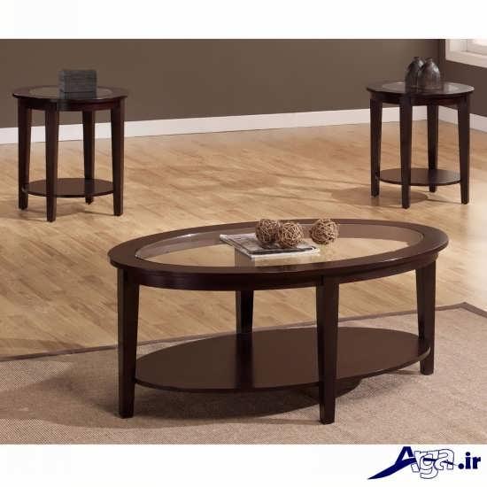 مدل میز چوبی شیشه ای