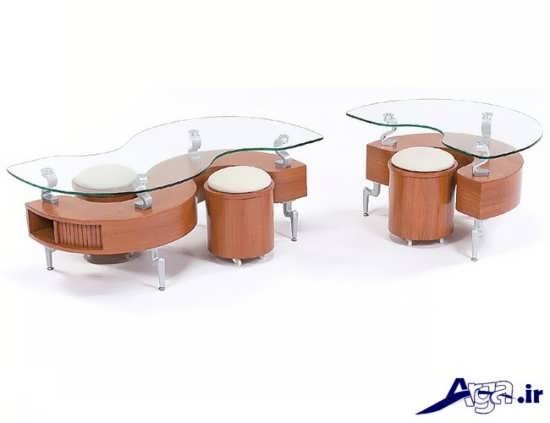 میز عسلی چوبی و فلزی