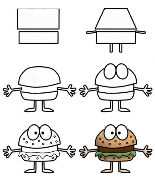 نقاشی همبرگر کارتونی