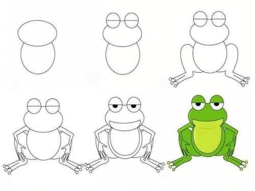 آموزش نقاشی قورباغه کارتونی