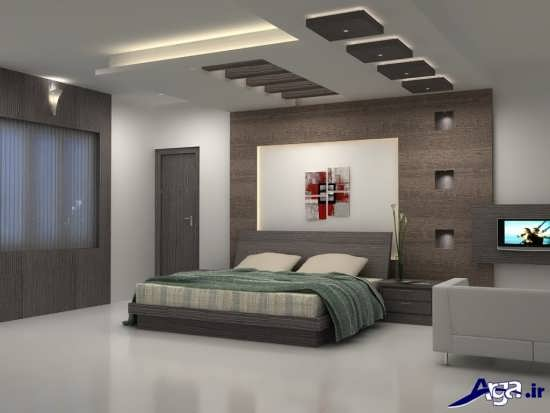 طرح زیبا و متفاوت کناف برای سقف اتاق خواب