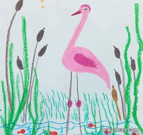 رنگ آمیزی زیبای پرنده لک لک