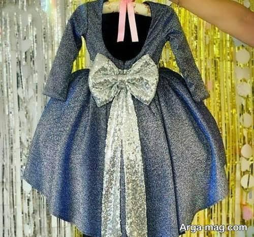 لباس مجلسی پرنسسی بچه گانه با پارچه لمه