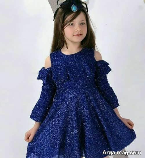 لباس مجلسی خوش رنگ بچه گانه با پارچه لمه