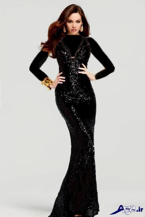 مدل لباس مجلسی مشکی و زیبا لمه