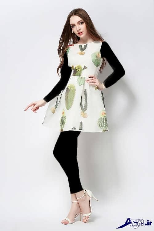 مدل پیراهن کوتاه طرح دار دخترانه