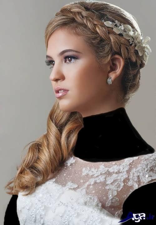 مدل آرایش موی باز عروس به همراه بافت