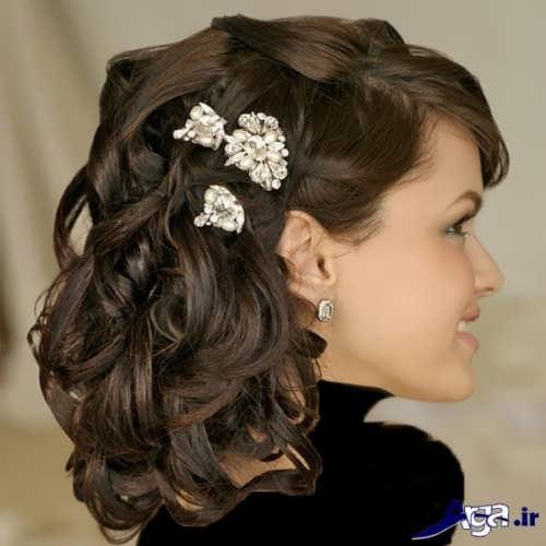مدل شینیون باز موی کوتاه عروس