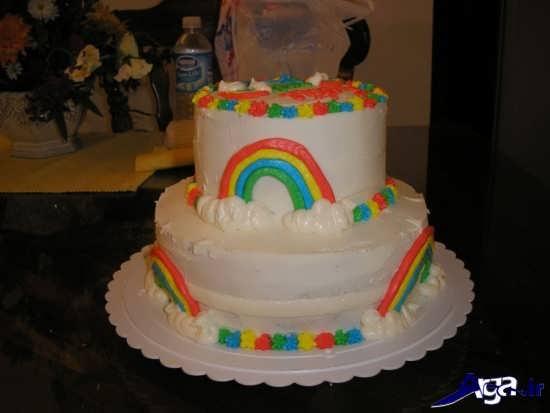 کیک تولد رنگین کمانی